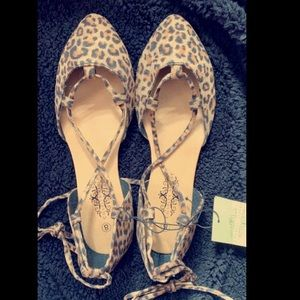 Shoes - Lace up leopard flats